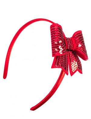 Girls Red Costume Headband with Cute Red Sequinned Bow
