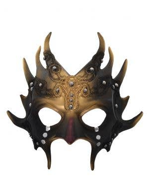 Spiked Devil Black and Gold Halloween Masquerade Mask