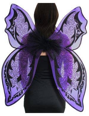 Giant Purple and Black Glitter Halloween Wings