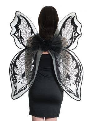 Black Glitter Oversized Dark Fairy Halloween Costume Wings Main Image