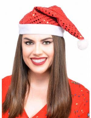 Red and White Santa Hat with Sequin Alternate Image