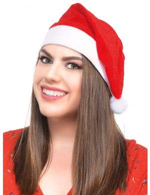 Red and White Velvet Santa Hat