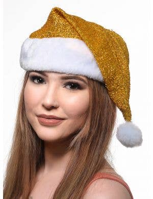 Sparkly Gold Lurex Santa Hat