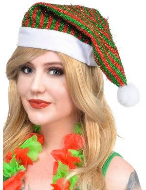 Red and Green Striped Chrismas Elf Hat