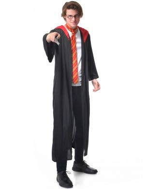 Adults Harry Potter Wizard Robe Tie, Glasses and Wand Costume Set - Main Image