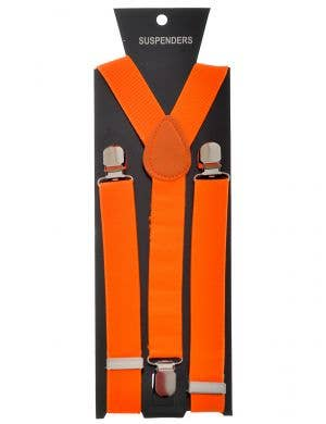 Stretchy Neon Orange Costume Braces
