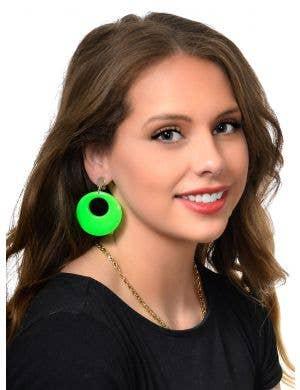 Awsome 80's Circle Earrings in Neon Green Costume Jewellery