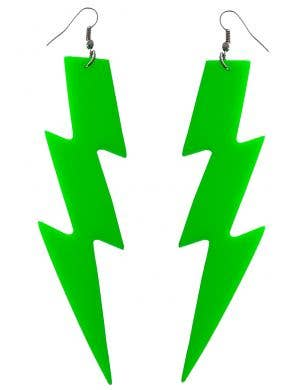 Large Neon Green Lightning Bolt 80s Costume Earrings