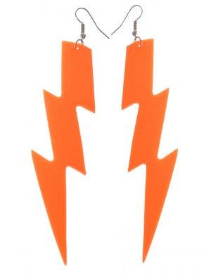 Neon Orange Large Lightning Bolt 80s Costume Earrings