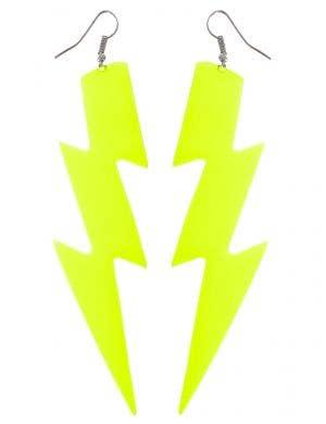 Large Neon Yellow Lightning Bolt 80s Costume Earrings