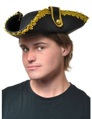 Deluxe Adult's Black and Gold Tricorn Pirate Captain Costume Hat