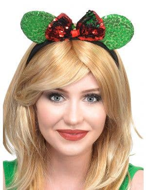 Red and Green Sequined Mouse Ears and Bow Christmas Headband