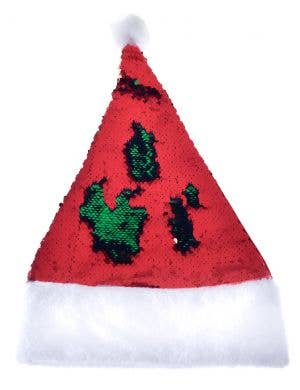 Reversible Sequins Santa Hat in Green and Red