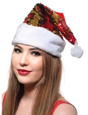Red and Gold Santa Hat with Reversible Sequins