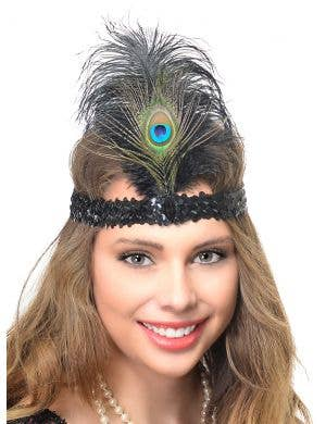 Womens 1920s Flapper Headband With Black Sequins and Peacock Feather