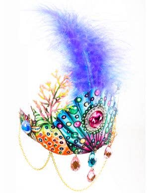 Mermaid Queen Deluxe Crown with Jewels and Feather
