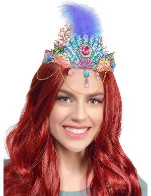 Mermaid Queen Costume Crown with Blue Feather, Jewels and Gold Chains