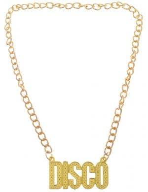 1970s DISCO Pendant Gold Chain Costume Necklace Main Image