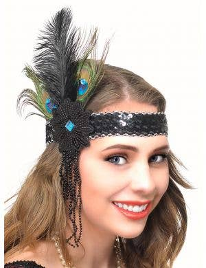 Peacock Feather 1920s Flapper Headband with Beads and Sequins