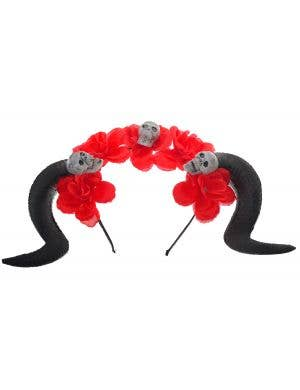 Black Goat Horns on Red Floral Headband with Skulls