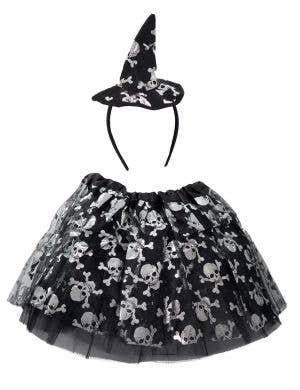 Witch Girl's Skull Tutu and Headband Halloween Set