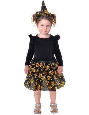 Cute Black and Gold Toddler Tutu and Witch Hat Accessory Set