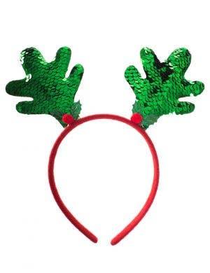 Reversible Green and Red Sequin Christmas Reindeer Antlers Costume Headband