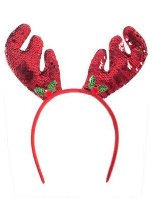 Reversible Red and Gold Sequin Christmas Reindeer Antlers Costume Headband