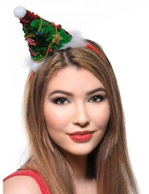 Red and Green Sequinned Christmas Tree Headband