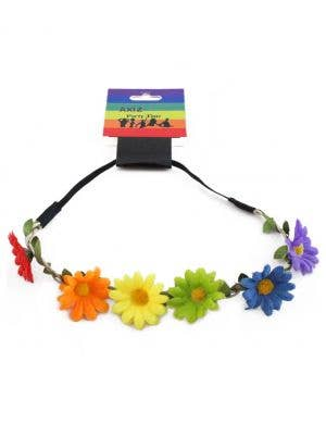 Daisy Rainbow Flower Chain Headband Costume Accessory