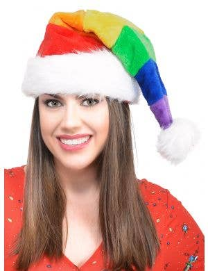 Rainbow Fluffy Santa Christmas Hat