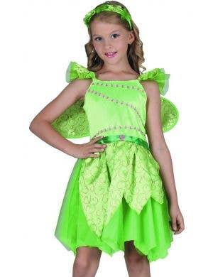 Woodland Fairy Girls Green Fairytale Costume