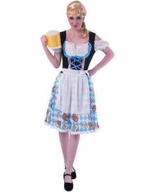 Pretzel and Beer Print Beer Girl Costume for Women