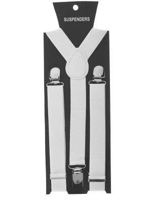White 1920s Stretchy Costume Accessory Suspenders