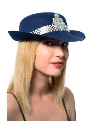 Navy Blue Women's British Police Bowler Hat Costume Accessory
