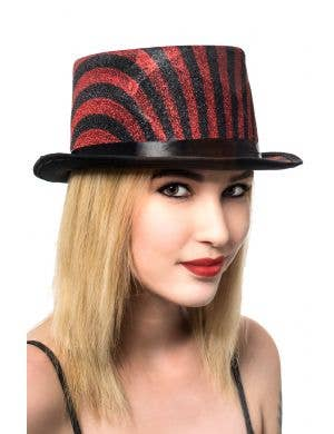 Black and Red Lurex Striped Top Hat Cabaret Costume Accessory