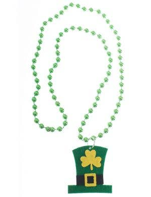 St Patricks Day Green Beaded Necklace With Leprechaun Hat Felt Pendant