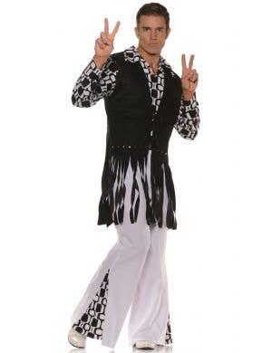 Men's Feelin Groovy Fringed 60's Hippie Fancy Dress Costume Main Image