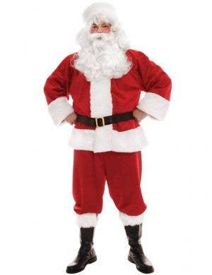 Men's Deluxe Plush Red Santa Suit Fancy Dress Costume