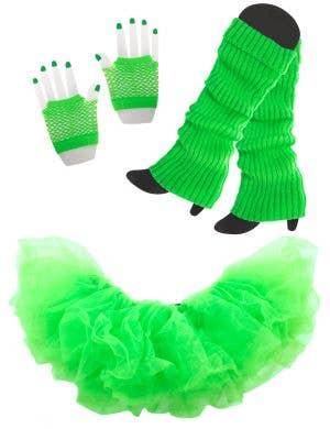 Underwraps Blue Tutu Leg Warmers gloves 80-s Costume Accessory Set- Main Image