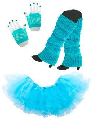 1980's Women's Blue Tutu Costume Accessory Set