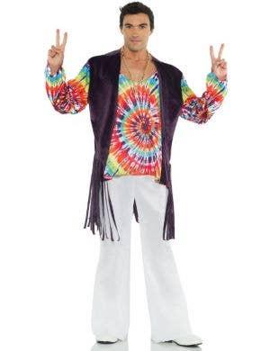 1960's Tie Dye Men's Hippie Fancy Dress Costume
