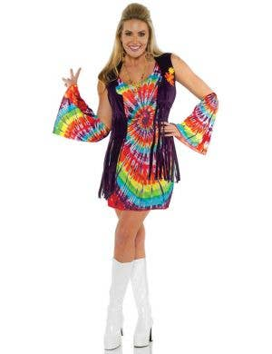 Womens Rainbow 1970s Fancy Dress Hippie Costume - Main Image
