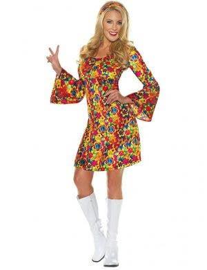 Womens Rainbow Hippie Flower Power Costume - Main Image