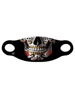 Printed Sugar Skull Halloween Fabric Costume Mask