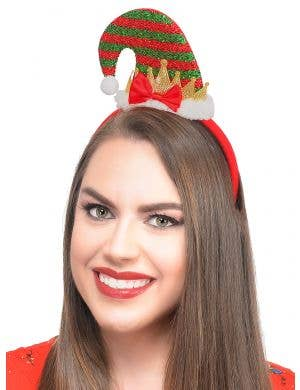 Mini Red and Green Elf Hat on Headband