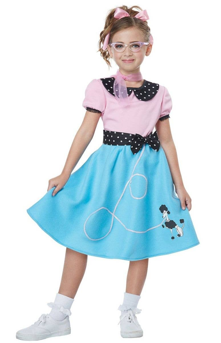 64f00c1c705c 1950's Sock Hop Girls Costume | Pink and Blue Poodle Dress Costume