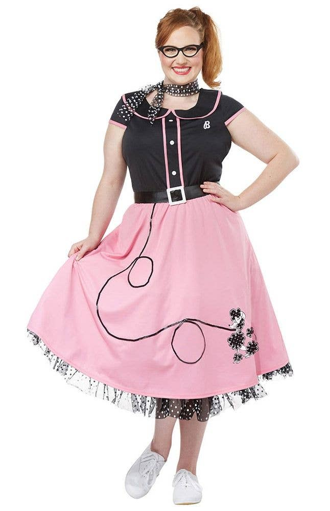 c71ac3c47c54 Women s Plus Size Pink and Black 50 s Poodle Skirt Retro Costume
