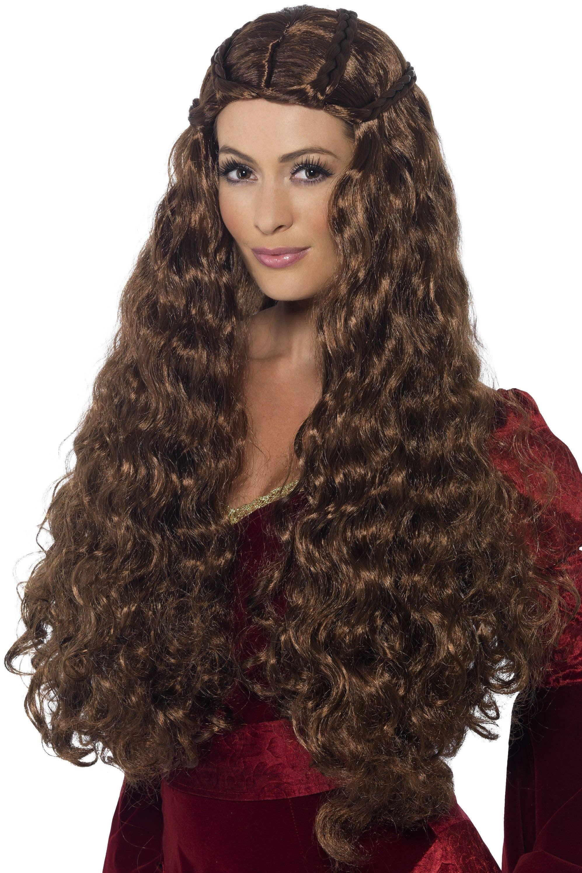 Medieval Princess Long Brown Curly Costume Wig Main Image 6089b6aeb