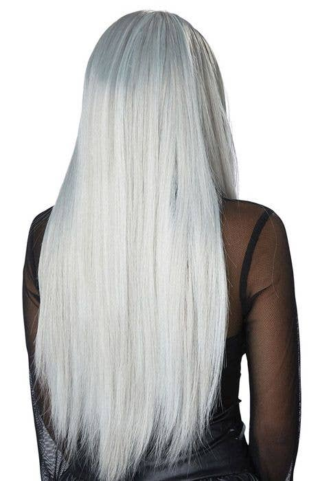 a022395a4 Women's Gothic Matriarch Long Grey And White Halloween Costume Wig Back View